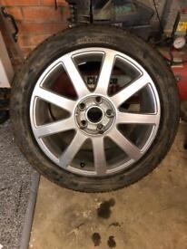 Audi A4 alloy wheel and tyre 235 45 17 Pirelli