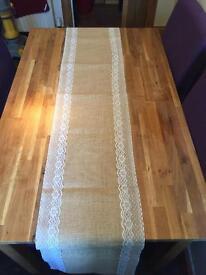 Hessian burlap fabric lace table runners