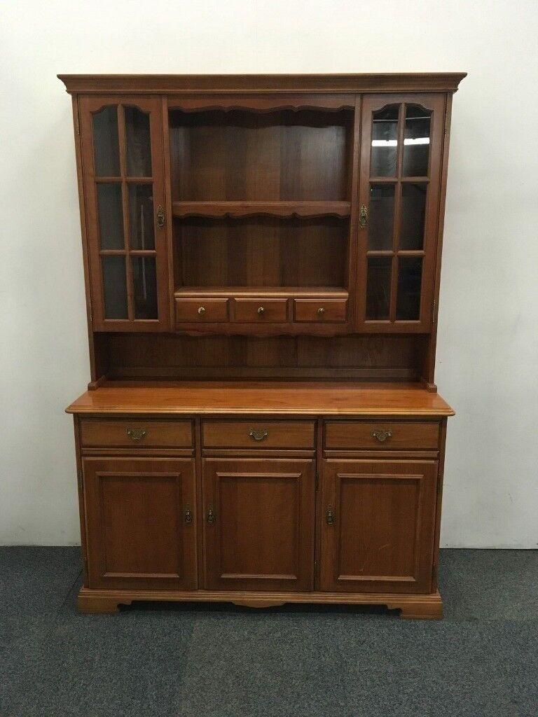Younger Furniture Pine Gl Fronted Welsh Dresser Display Cabinet