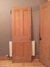 87.4''x29.5'' Victorian stripped period pine wooden internal four panel door
