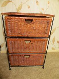 Metal framed 3-drawer wicker unit for bedroom or bathroom. VGC