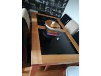 Solid wood and black glass side table and dinning table