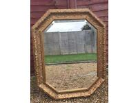 Large antique gilt bevelled mirror