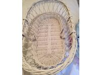 WHITE WICKER MOSES BASKETS WITH SHEETS