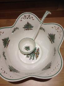Spode CHRISTMAS TREE Large Pierced Center Piece Punch Bowl & ladle Rare