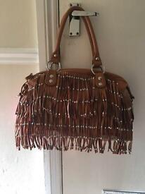 Tan Ladies Handbag with Tassels - Brand New with Tags
