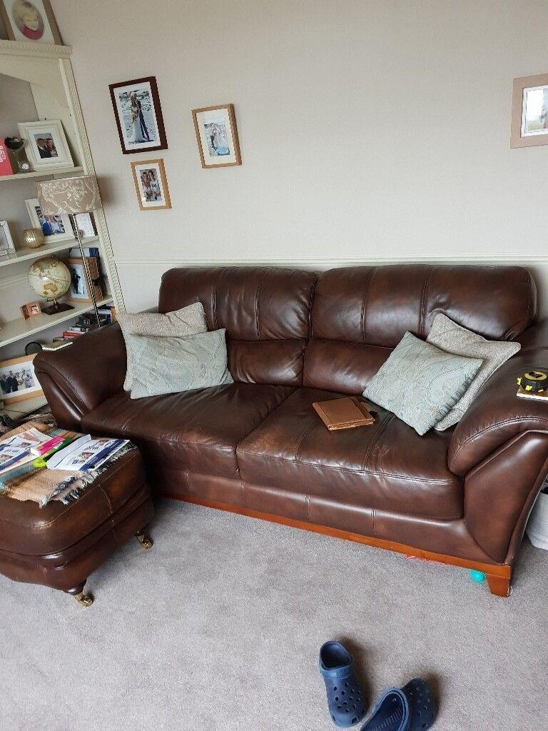 Enjoyable Csl 3 Seater Leather Sofa Brown Excellent Inzonedesignstudio Interior Chair Design Inzonedesignstudiocom
