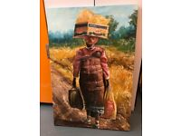 Original Oil Painting of an African lady walking home in Transkei