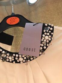 Coast ladies cream and black detailed collar top