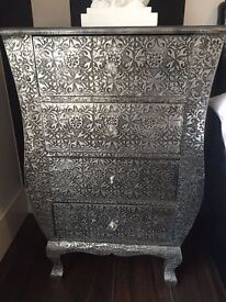 Blackened silver embossed metal 4 drawer chest of drawers - good condition