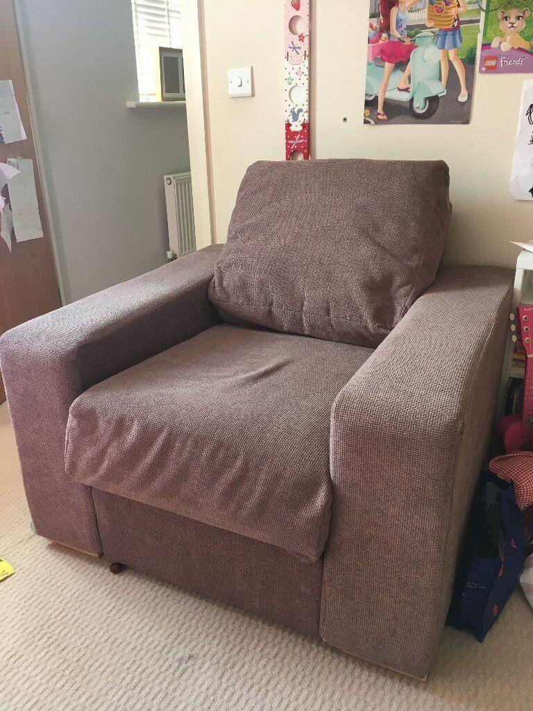 Beige modern armchair - Chunky Beige Modern Armchair Fat Arms Storage Underneath Excellent Condition