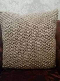 2 WOOLLEN KNITTED CUSHIONS