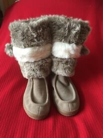 Suede and Faux Fur Mid Calf Length Boots