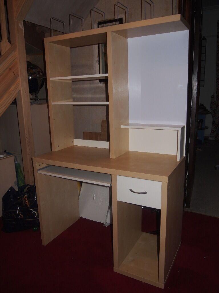 Ikea Birch Veneer Computer Desk With Magnet Board And Shelving