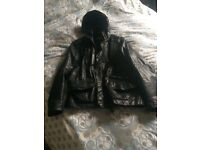 Men's genuine real leather jacket (By Firetrap) black, with leather hood attached