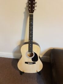Martin Smith Acoustic Guitar with case and stand
