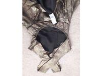 Size 8 Metallic Peplum Cross Strap Midi Dress