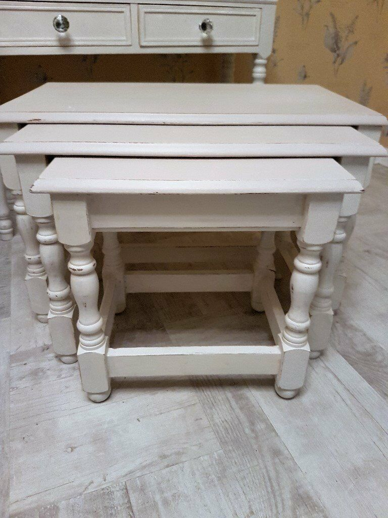 Shabby chic Coffee tablenest tables fully refurbishedin Shepshed, LeicestershireGumtree - Shabby Chic large coffee table / Nest Tables painted in chalk white legs and taupe tastefully shabby chic and waxed. Excellent condition collection only 5 mn from M1 junc 23