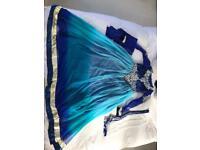Asian Blue White Princess Gown Dress