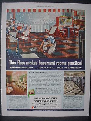 1943 Armstrongs Asphalt Tile Flooring Basement Remodel Vintage Print Ad 11993
