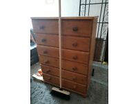 Pine chest of draws x 2