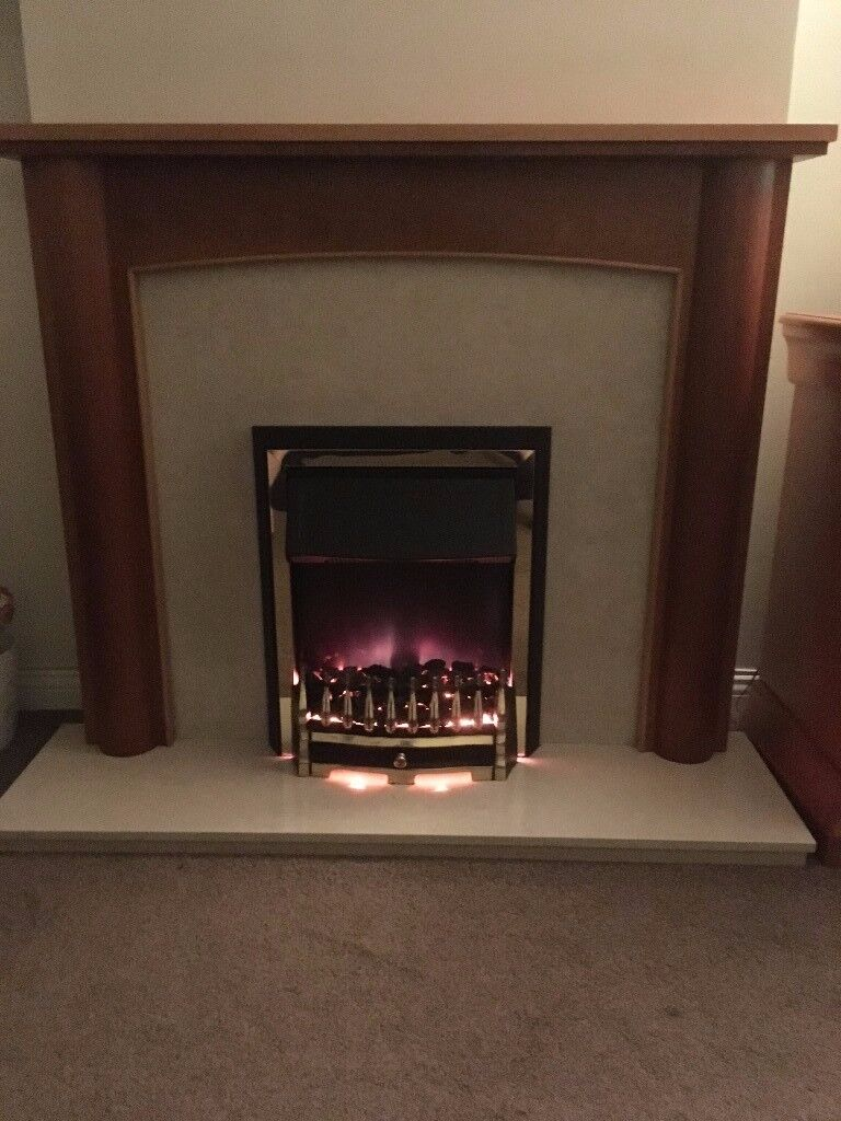 electric fire with hearth and surround