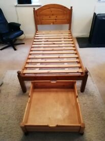 Single Pine Bed /drawer Excellent conditon