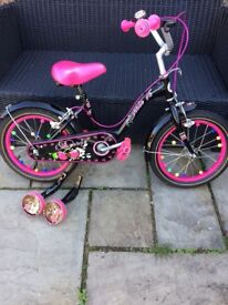 """Black cherry 16"""" girls bike, comes with stabilisers great condition from smyths"""