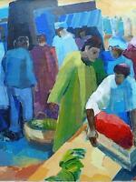 Orientalista Escena De Mercado Persa Cubista Contemporáneo Firmado M Delimeux Xx -  - ebay.es