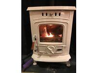 Log Burning Stove, Cream Enamel