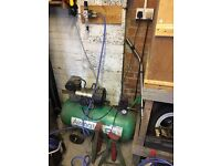 AIR COMPRESSOR WITH HOMEMADE BLASTING CABINET