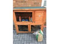 Rabbit hutch with run and accessories