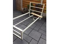 Sleep Design - Single Bed Frame - Cream Painted Steel - Brand New