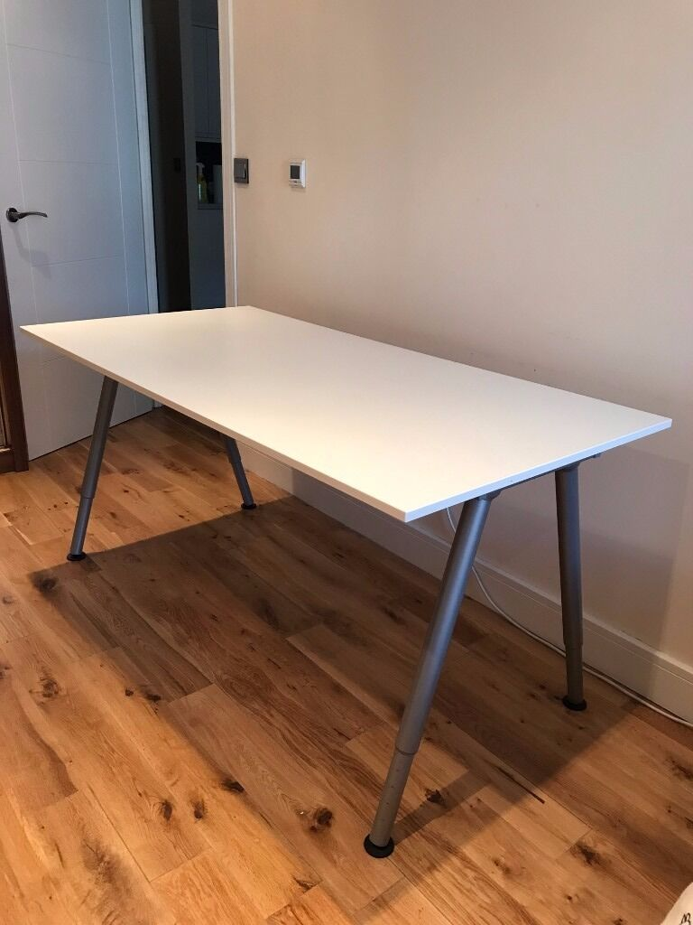 Ikea Thyge Desk Adjustable Height White Silver Colour
