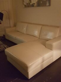 CREAM LEATHER CORNER SOFA by COACH HOUSE