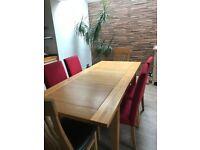 Oak extendable dining set