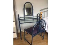 Metal and glass dressing table - unusual, hand-painted