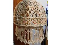 Vintage lamp shade with beads & tassels 30cm round