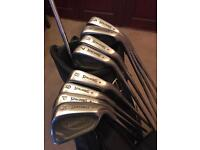 "Spalding irons (-1"" short) 3 wood and carry/stand bag"