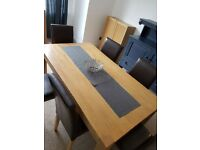 Light Solid Wood Dining Table & 6 Brown Faux Leather Chairs