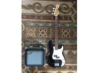 Black Encore Precision Bass + Cruiser Practise Amplifier
