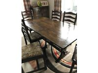 Dark oak exc con dining table and six chairs