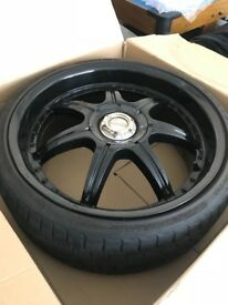"19"" Lenso S73 All Black Polished Alloy Wheels with Tyres"