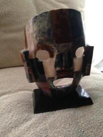 Mayan Aztec Warrior Gemstone Abalone Burial Face Mask Art Sculpture