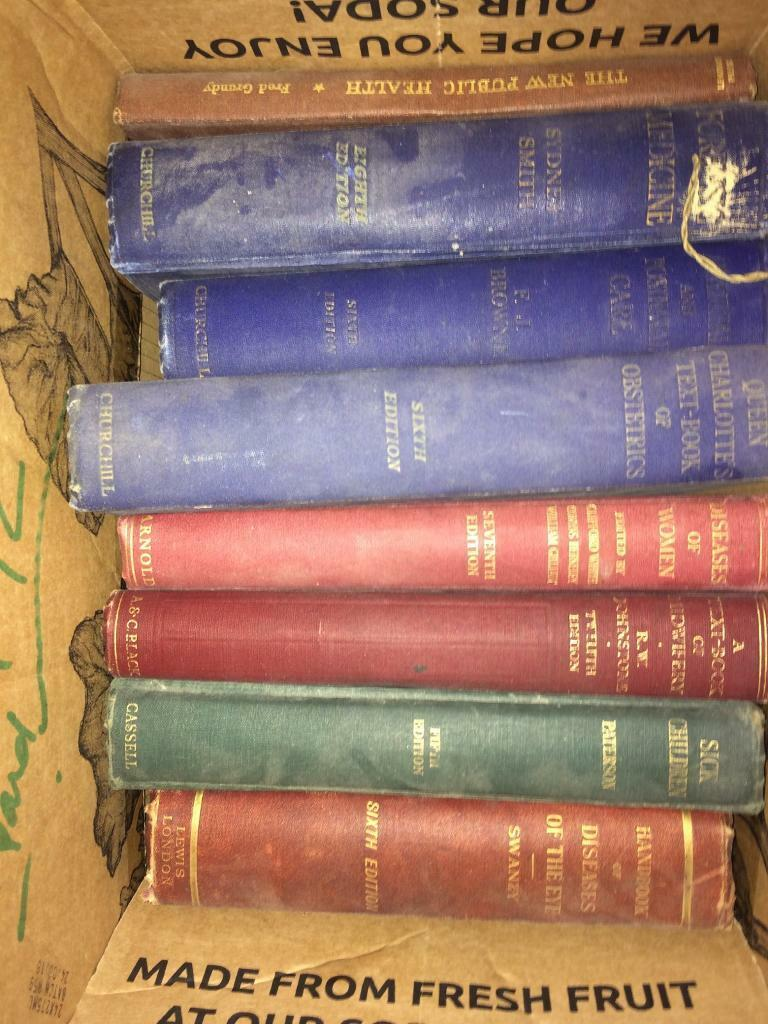 5 boxes of old medical books circa 1940's
