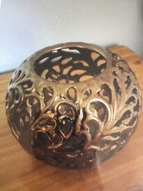 Bronze Effect Circular Vase/Ornament