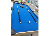 Snooker Table, cues, balls, etc