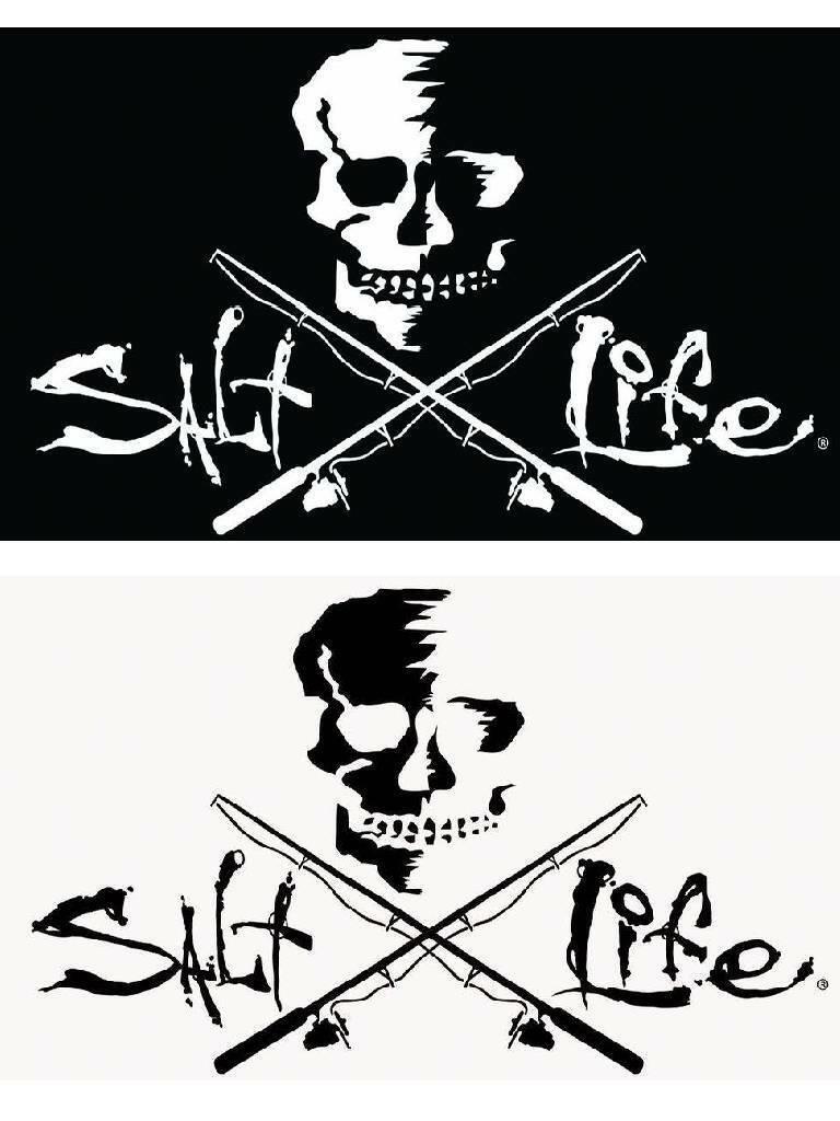 "SALT LIFE FISHING POLES /& SIGNATURE /""WHITE/"" medium DECAL *FREE SHIPPING*"