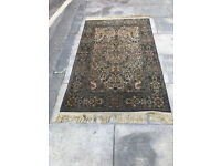 Rug - Chenille Garden patterned Rug with olive and green colours . Size L 69in x 42in.