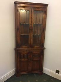 Antique oak corner unit